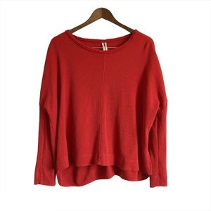 ANTHROPOLOGIE Waffle Knit Long Sleeve Top Red